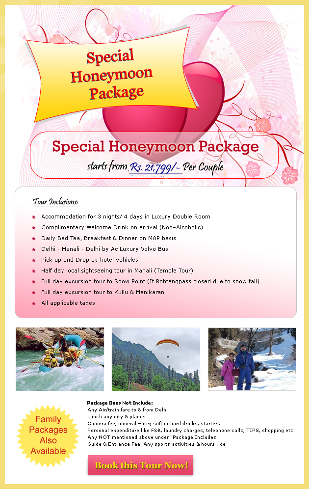 Special Honeymoon  Tour Package in Manali